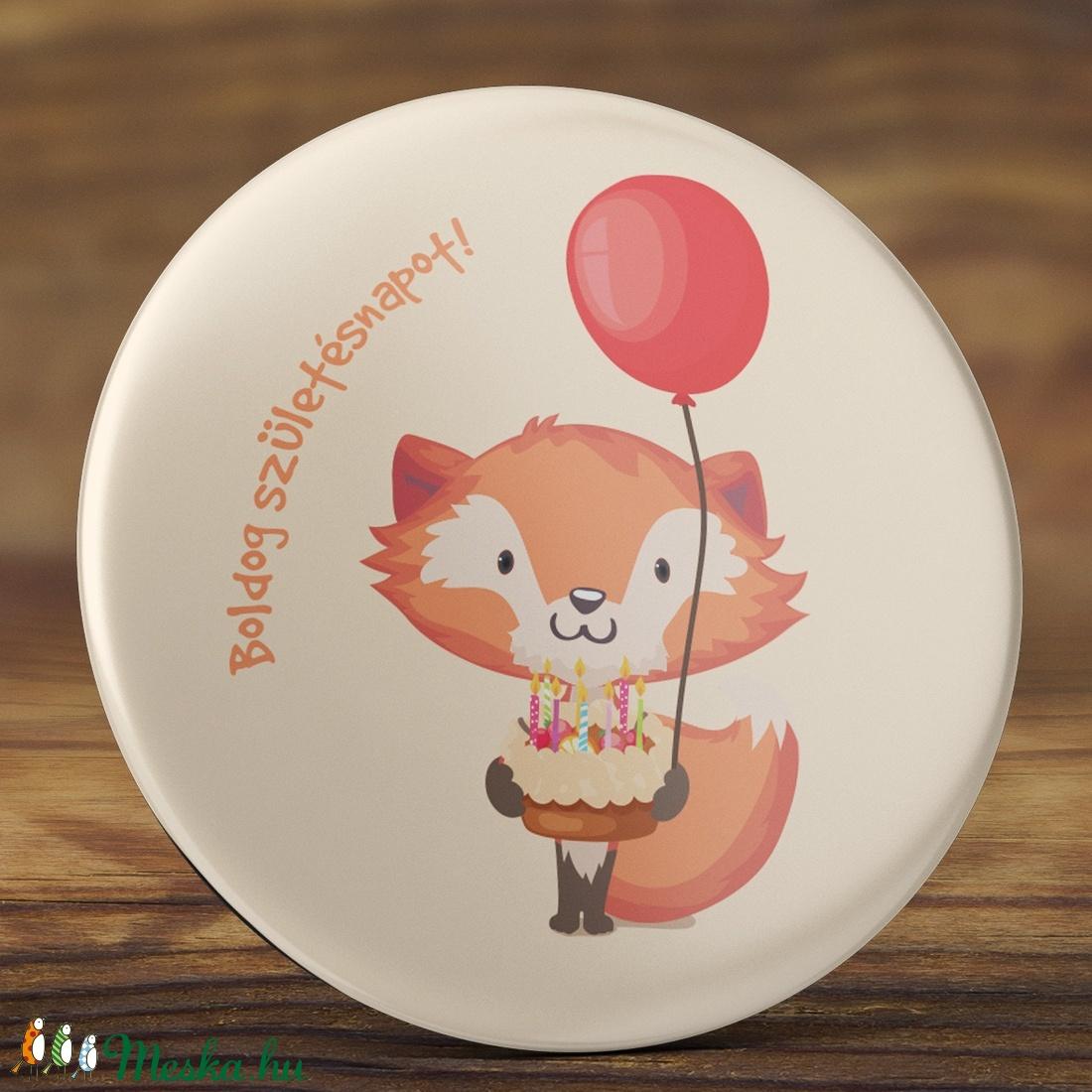 995a5e1b03 Róka mágnes - cuki rókás hűtőmágnes - boldog születésnapot mágnes - állatos  mágnes - masnis róka