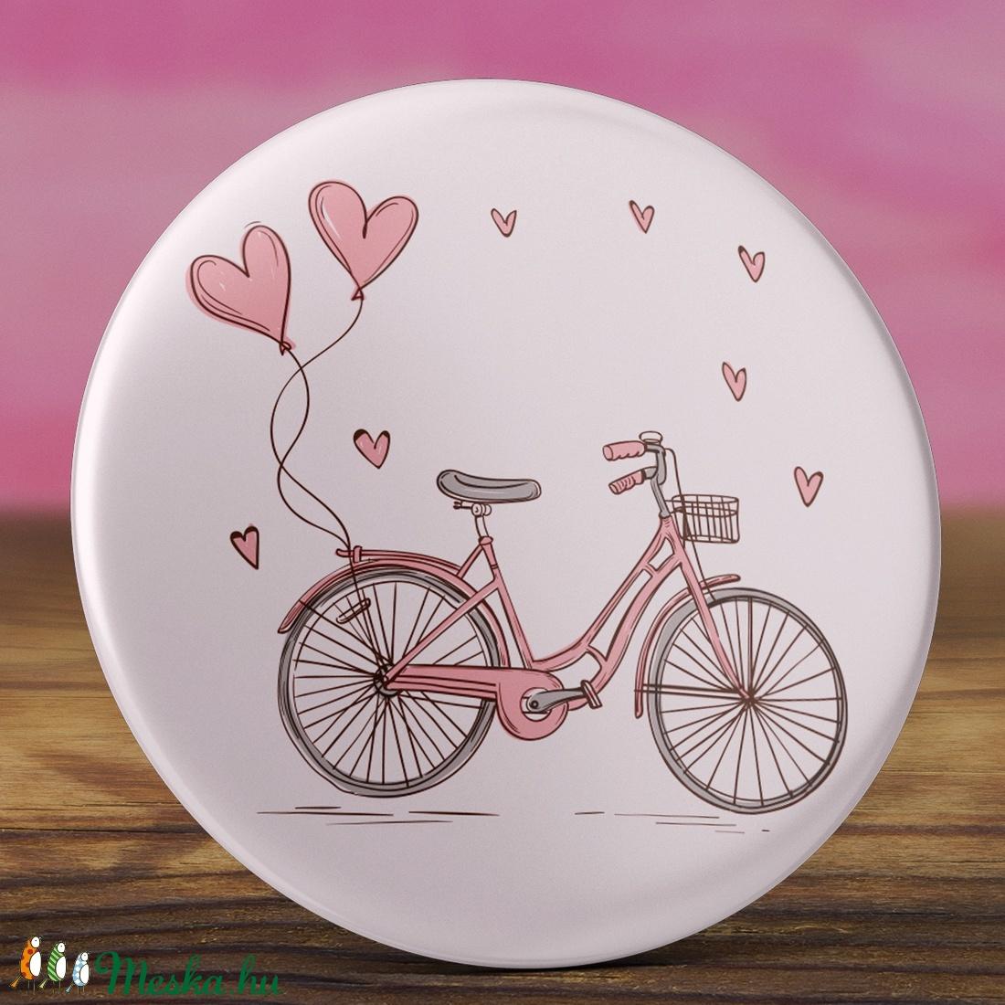 Rózsaszín bicikli tükör -  bicikli zsebtükör - vintage tükör - szívecske tükör - vintage ajándék - szív - kerékpár  (AngelPin) - Meska.hu