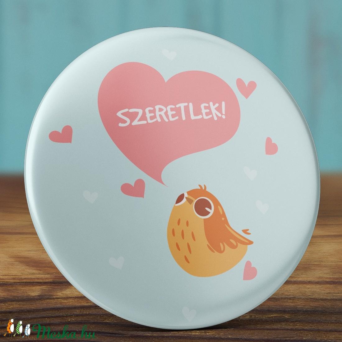 Szeretlek madár tükör - madaras zsebtükör - valentin nap - szerelmes ajándék - szeretlek tükör - kis madár - szív  (AngelPin) - Meska.hu