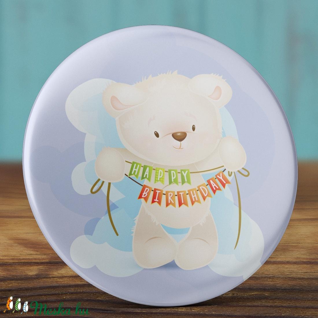 Boldog szülinapot maci kitűző - medve bross - happy birthday - cuki ajándék - szülinap tükör - maci - születésnap (AngelPin) - Meska.hu