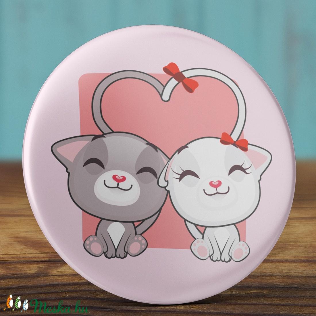 0cf14be589 Valentin napi cica mágnes - macska hűtőmágnes - szeretlek - szerelmes  ajándék - szerelmes pár -