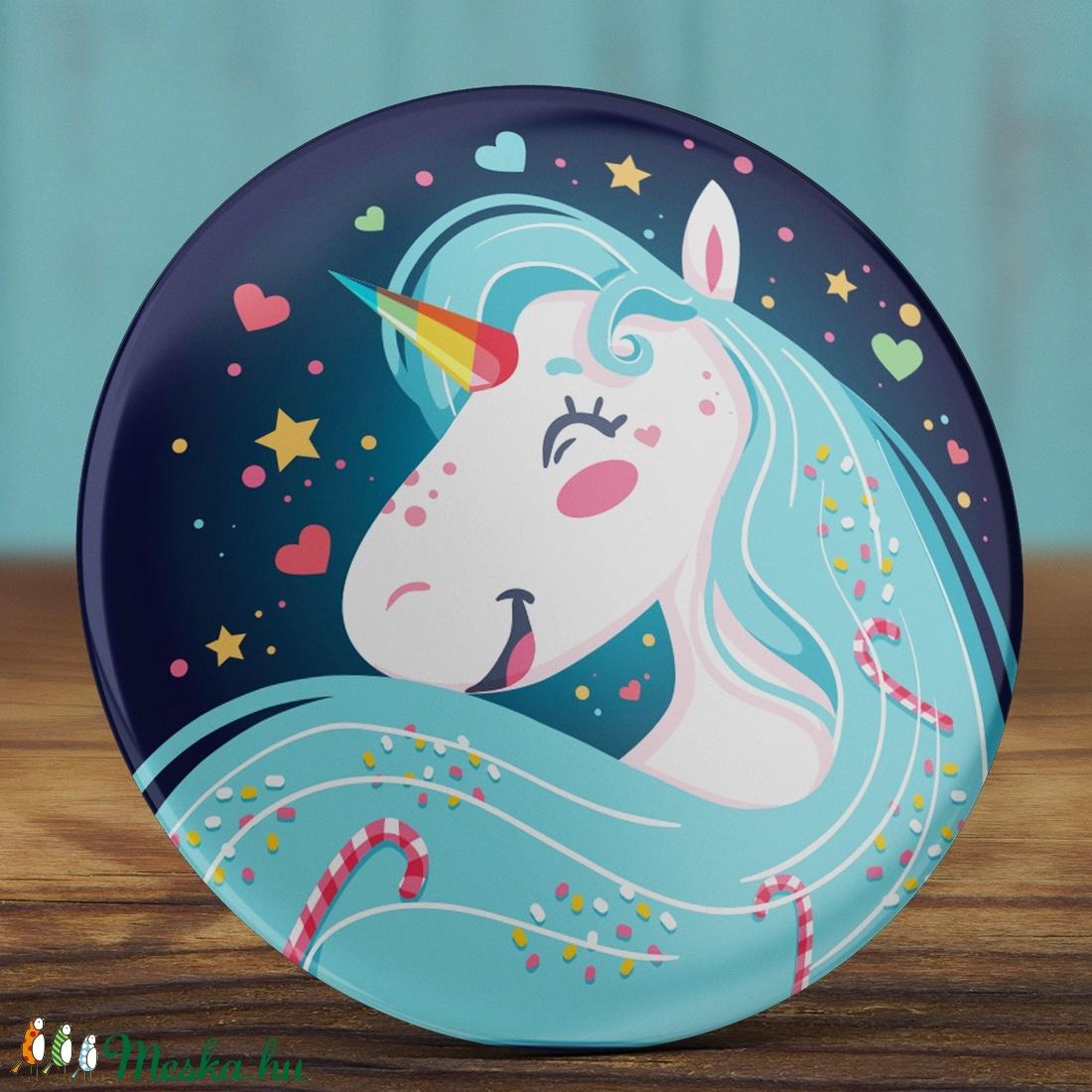 Unikornis tükör  - cuki zsebtükör  - cukorka - ló - unicorn - vidám unikornis tükör  - szív - csillag - kék - lány (AngelPin) - Meska.hu