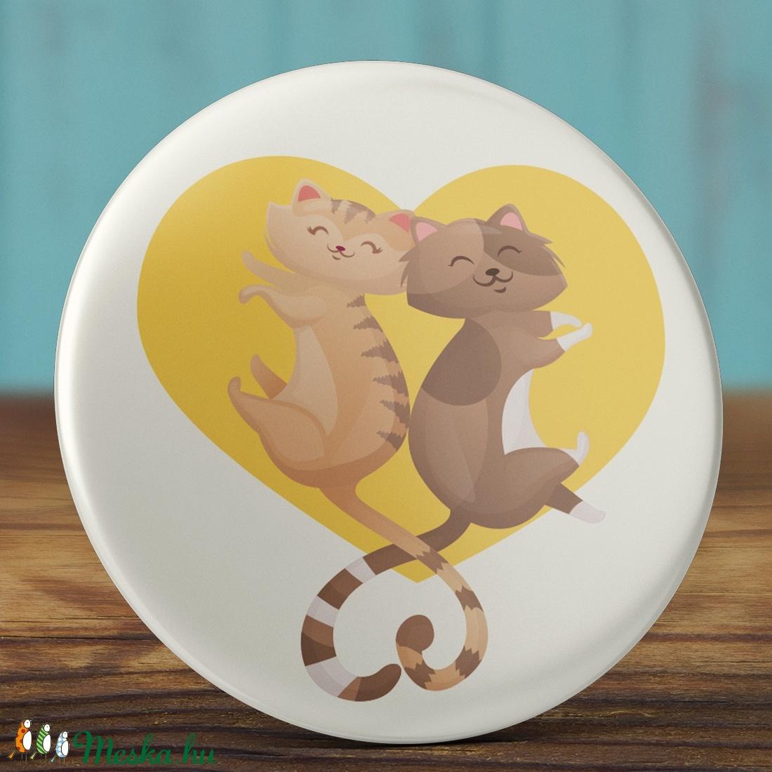 Valentin napi cica mágnes - macska hűtőmágnes - szeretlek - szerelmes ajándék - szerelmes pár - cica - rózsaszín (AngelPin) - Meska.hu