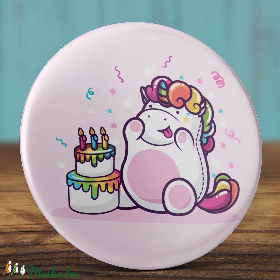 Boldog szülinapot unikornis kitűző - unicorn bross - happy birthday - ajándék - szülinap tükör - születésnap (AngelPin) - Meska.hu