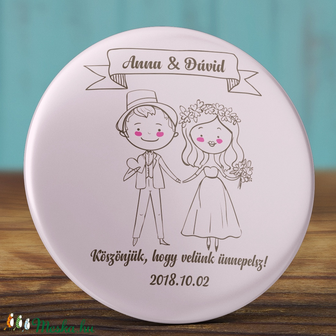 Esküvői köszönet ajándék hűtőmágnes - Esküvői köszönőajándék mágnes (AngelPin) - Meska.hu