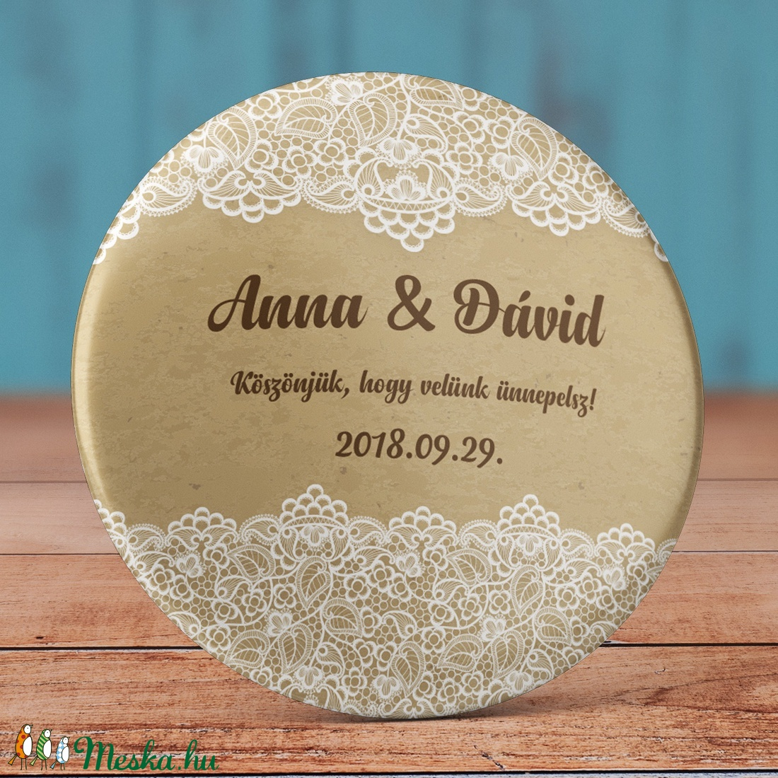 Esküvői köszönet ajándék hűtőmágnes - csipke - Esküvői köszönőajándék mágnes - vintage esküvő - virág esküvő (AngelPin) - Meska.hu