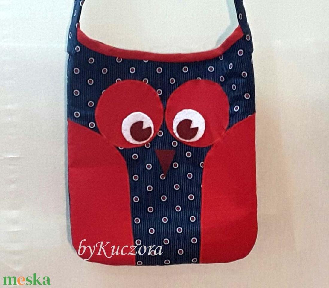 Bagoly, baglyos táska - piros kék  - táska & tok - kézitáska & válltáska - válltáska - Meska.hu