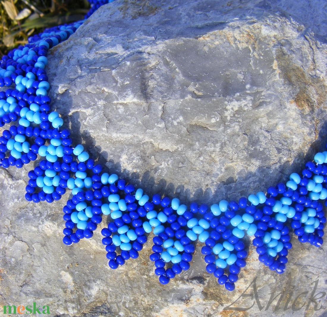 Leveles kék nyaklánc - ékszer - nyaklánc - gyöngyös nyaklác - Meska.hu