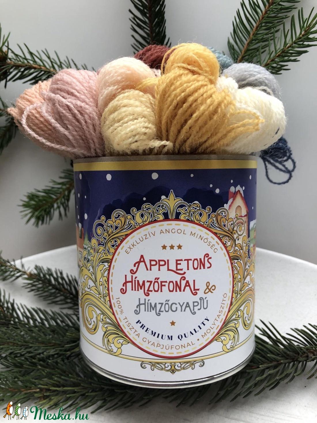 Karácsonyi  angol minőségi gyapjú hímzőfonalak (Appletons) - exkluzív csomagolásban - otthon & lakás - lakástextil - varrókellék - Meska.hu