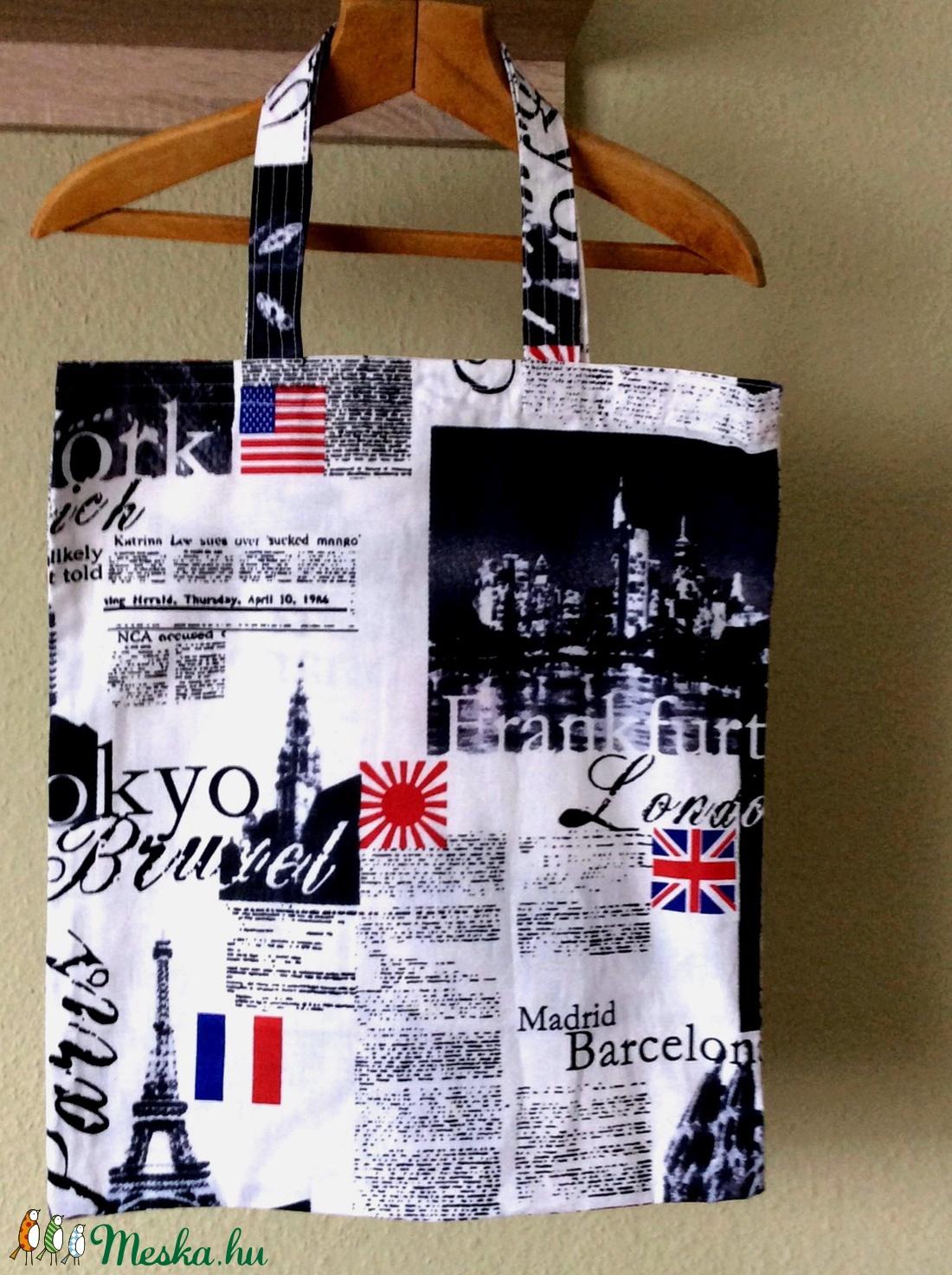 Feliratos, képekkel mintázott szatyor - táska & tok - bevásárlás & shopper táska - shopper, textiltáska, szatyor - Meska.hu