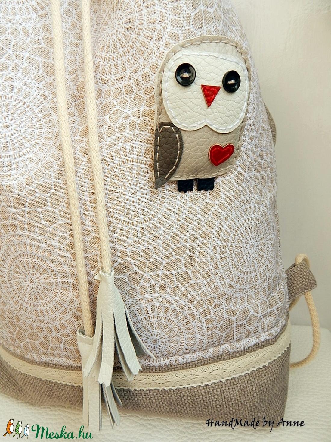 ... Csipkemintás kényelmes - tornazsák hátizsák bagoly kitűzővel  (annetextil) - Meska.hu ... 8477955db1