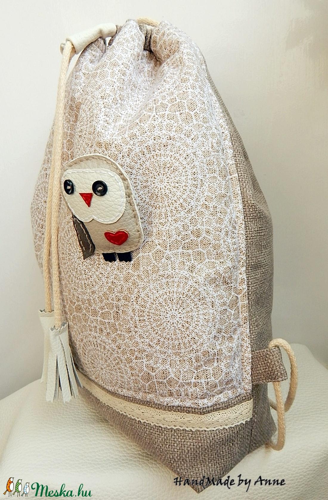... Csipkemintás kényelmes - tornazsák hátizsák bagoly kitűzővel  (annetextil) - Meska.hu 25db53d008