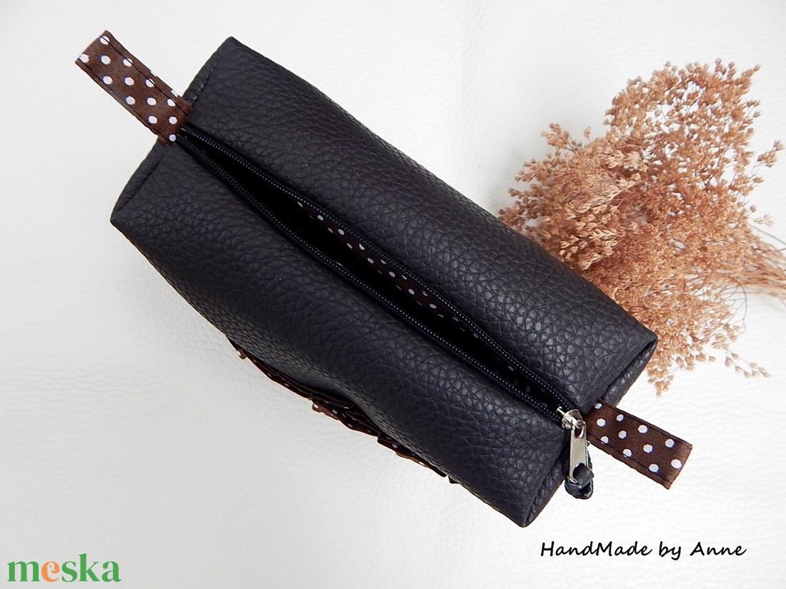 Étcsokoládé színű textilbőr doboz neszesszer, sminktása, pipere tartó - táska & tok - neszesszer - Meska.hu
