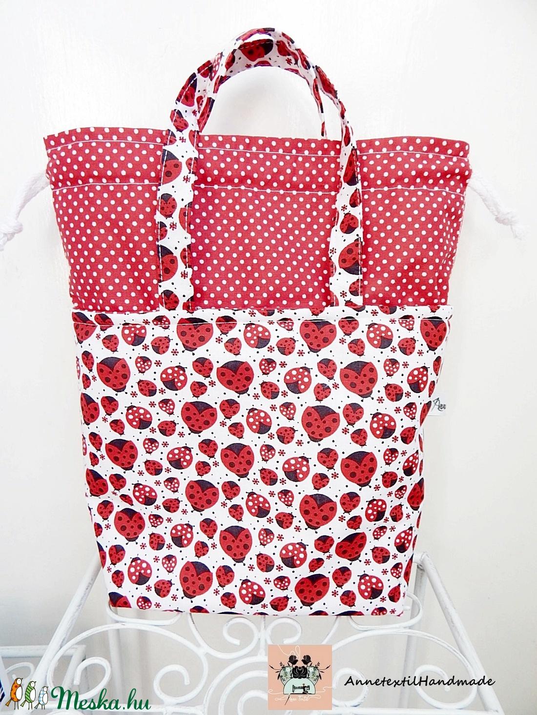 Kids bag set - uzsonnás táska szett katicákkal - ovi- és sulikezdés - uzsonna- & ebéd tartó - ebéd tasak, doboz - Meska.hu