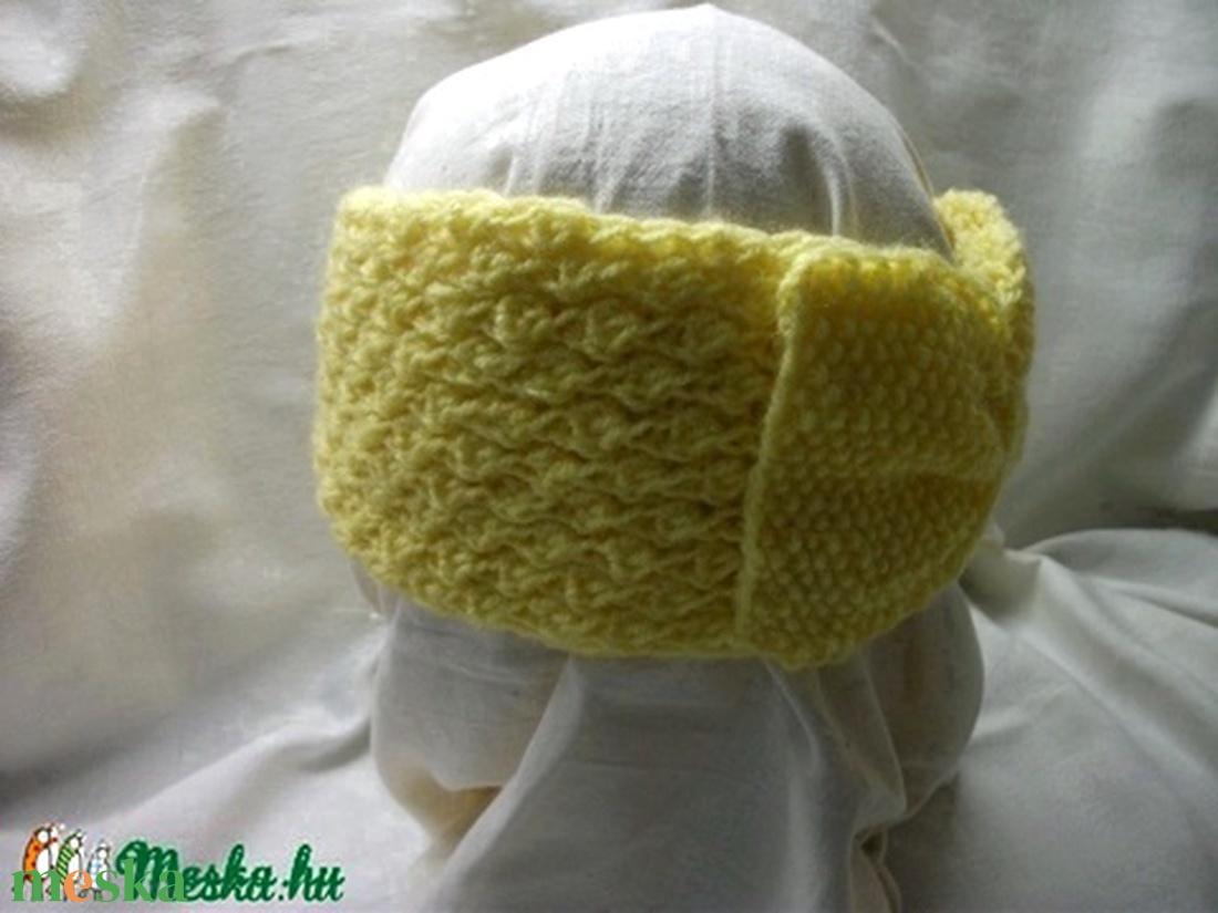 Kötött masnis, sárga, fejpánt, hajpánt, fülvédő. meleg, sapka helyett - ruha & divat - sál, sapka, kendő - fejpánt - Meska.hu