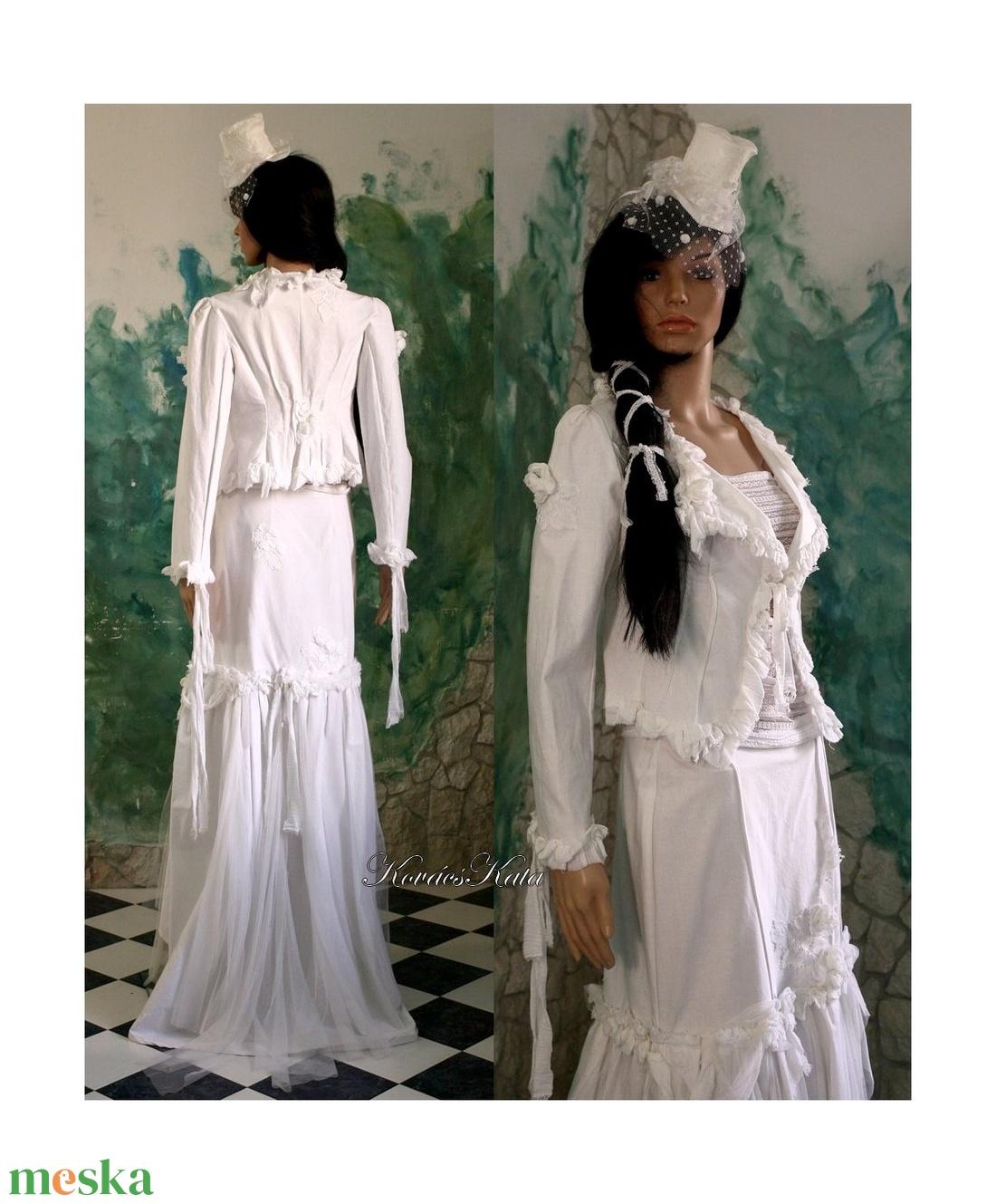 FANNI - esküvői vászon-kosztüm, alternatív esküvői ruha - esküvő - ruha - menyasszonyi ruha - Meska.hu
