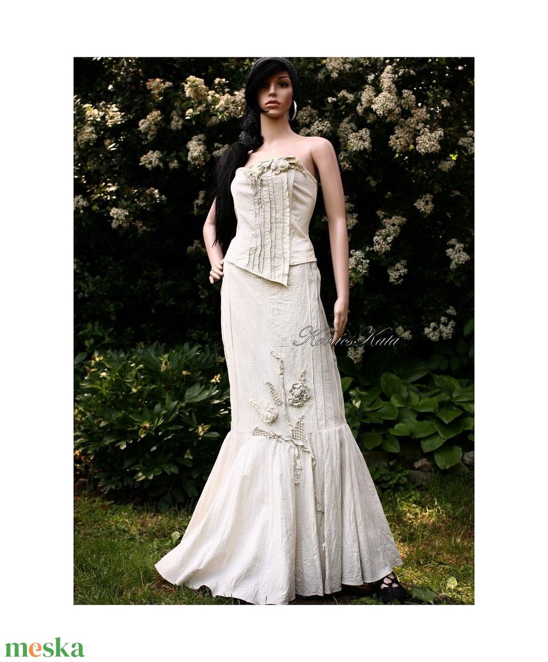 LÉDA-RUSTIC - artsy design vászonruha - esküvő - ruha - menyasszonyi ruha - Meska.hu