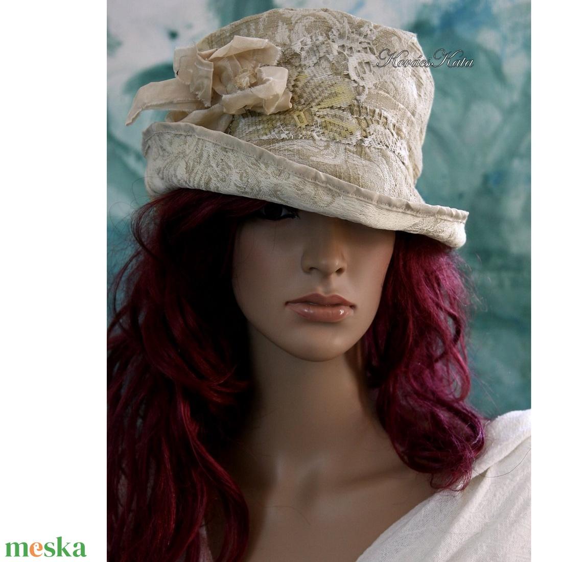 SOPHIA - antikolt brokát kalap - ruha & divat - sál, sapka, kendő - kalap - Meska.hu