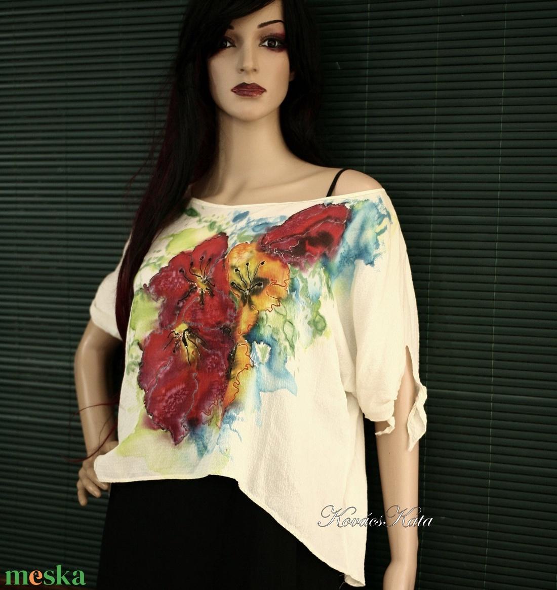 PIPACSOK -  exkluzív 100% hernyóselyem festményblúz - ruha & divat - női ruha - blúz - Meska.hu