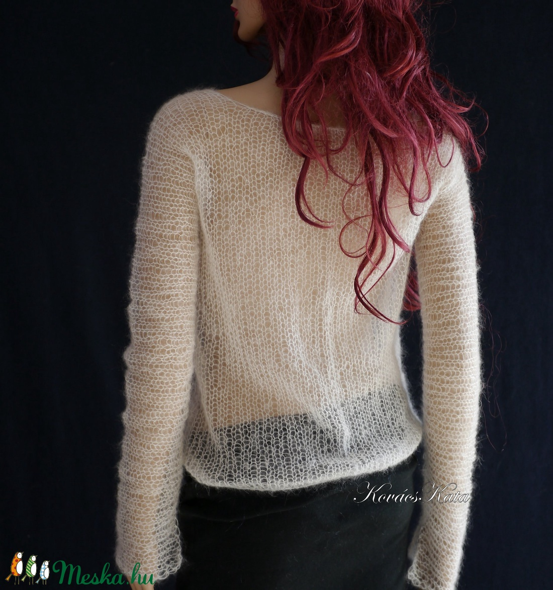 TIFFANY / fehér - szexi selyem-mohair pulóver - kézzel kötött - ruha & divat - női ruha - pulóver & kardigán - Meska.hu