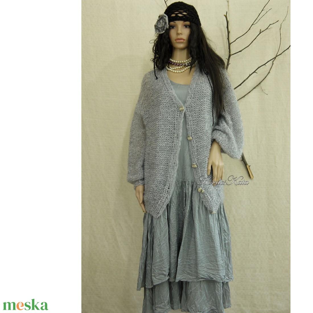 SZOFI/füstszín - exkluzív selyem-mohair kardigán- kézzel kötött - ruha & divat - női ruha - pulóver & kardigán - Meska.hu