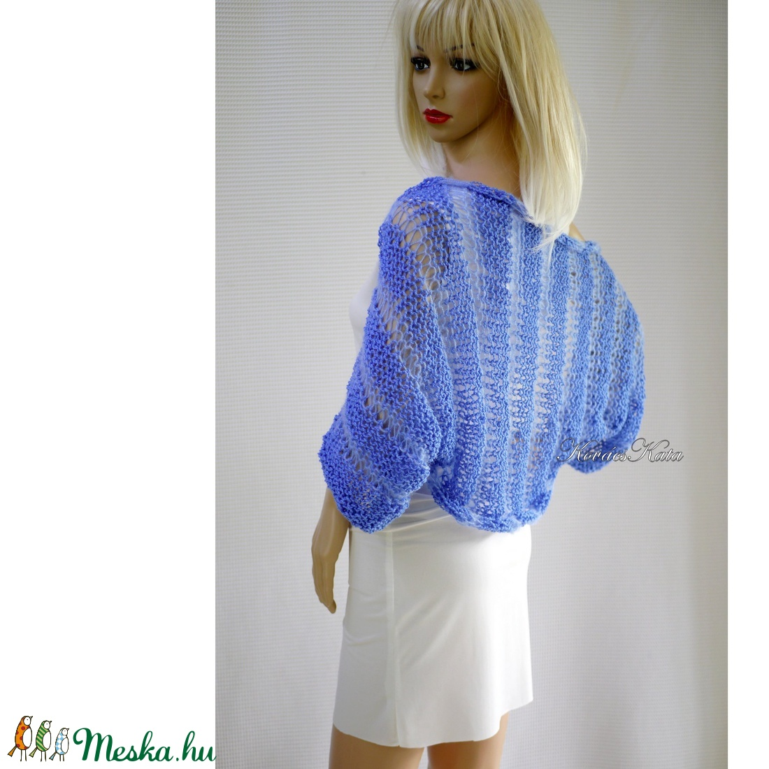 BOHO-BOLERÓ - kézzel kötött rövid kardigán / encián - ruha & divat - női ruha - bolero - Meska.hu