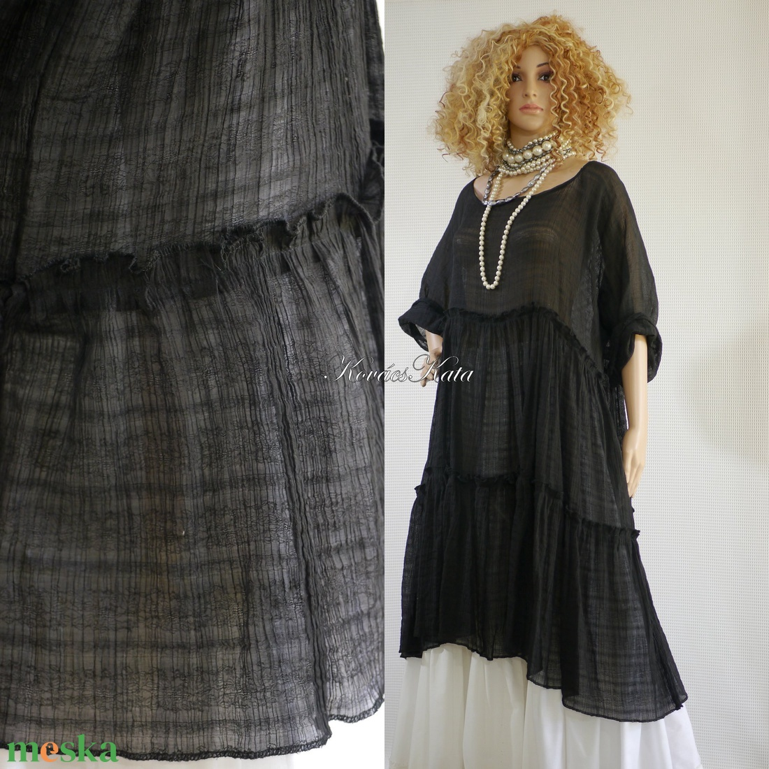THALIA - romantikus lagenlook ruha XXL - ruha & divat - női ruha - alkalmi ruha & estélyi ruha - Meska.hu