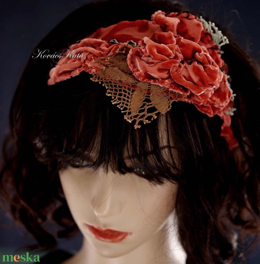 ART DECO FEJPÁNT - hernyóselyem rayon flapper hajpánt / piros - ruha & divat - hajdísz & hajcsat - hajráf & hajpánt - Meska.hu