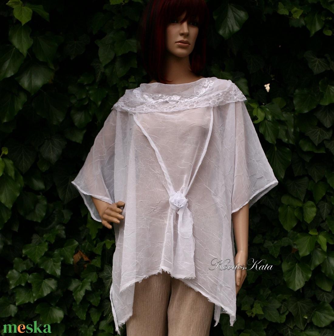 ANDI - romantikus gyűrt-muszlin-tunika - ruha & divat - női ruha - tunika - Meska.hu