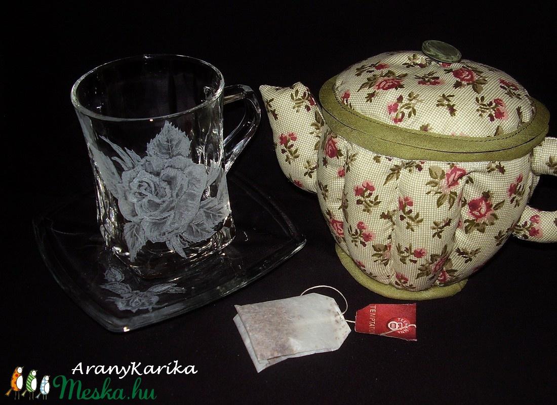 Gravírozott, rózsás,teás készlet-teafiltertartó, textil kancsó (AranyKarika) - Meska.hu