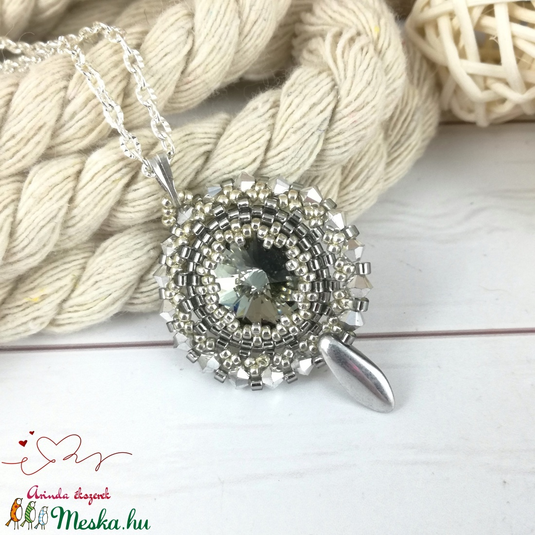 Csillogó álmok szürke swarovski nyaklánc egyedi kristály esküvő alkalmi koszorúslány örömanya menyasszony násznagy - esküvő - ékszer - nyaklánc - Meska.hu