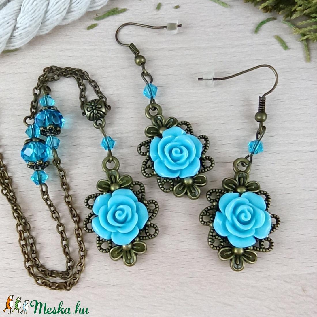 #49 kék rózsás antik bronz szett nyaklánc fülbevaló esküvő alkalmi koszorúslány örömanya menyasszony násznagy - ékszer - ékszerszett - Meska.hu