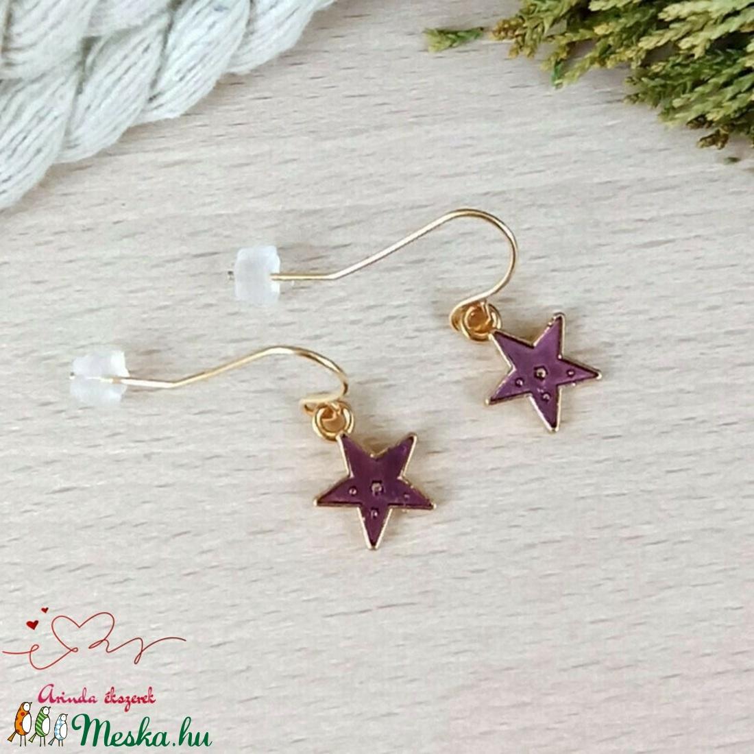 Csillag fülbevaló karácsonyra mikulásra télire adventi kalendáriumba nőnek lánynak - ékszer - fülbevaló - lógó fülbevaló - Meska.hu