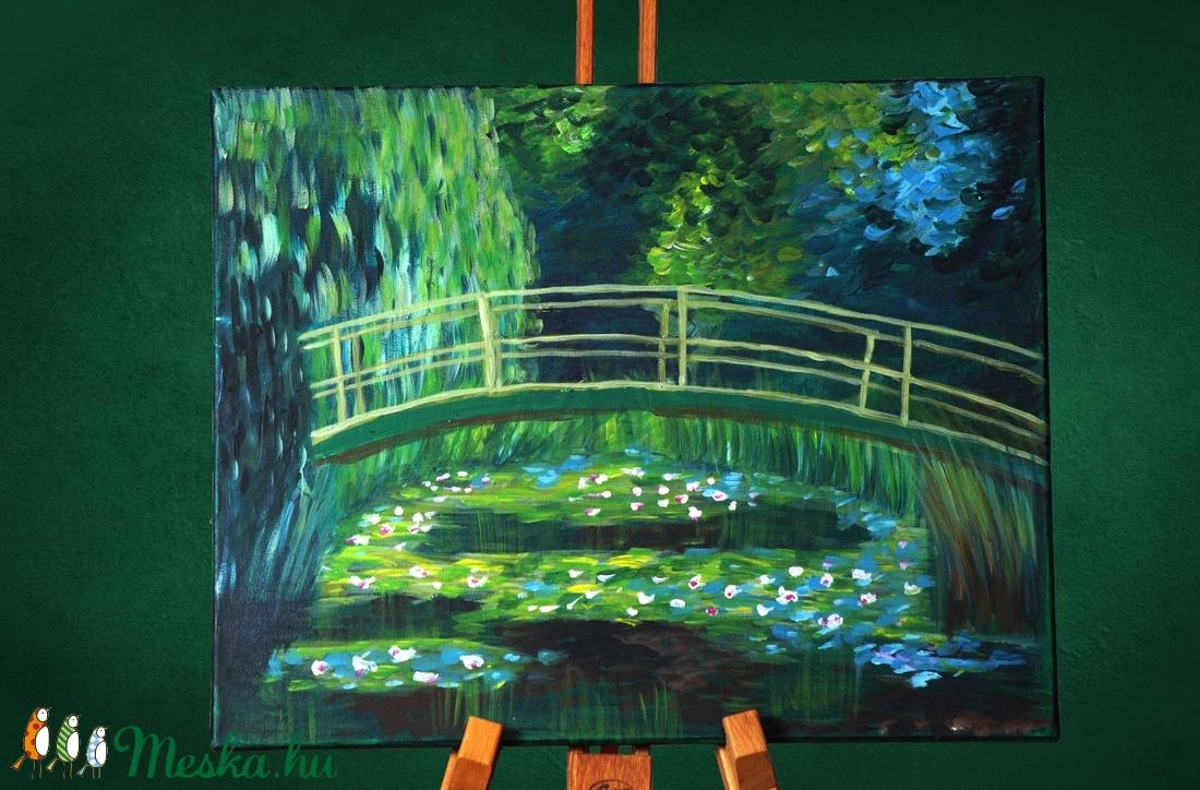 Híd a vízililiomok tava felett, akril festmény, mérete: 30x20cm, ingyenes szállítással - Meska.hu