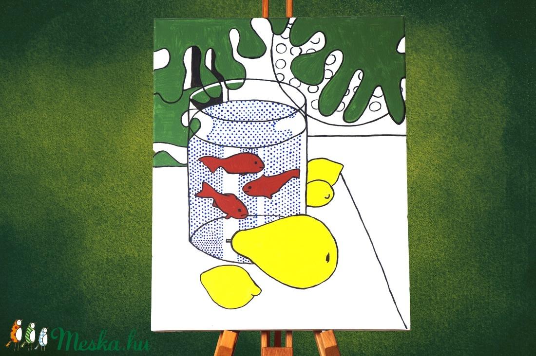 Csendélet aranyhallal pop-art stílusú akril festmény, mérete: 40x50cm, ingyenes szállítással - Meska.hu