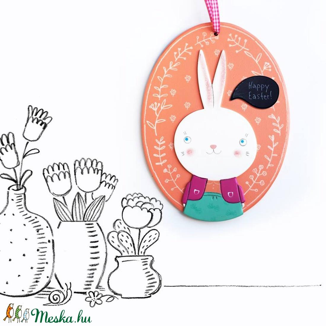 Nyúl lány kép, dekoráció, üdvözlőtábla (artisan) - Meska.hu