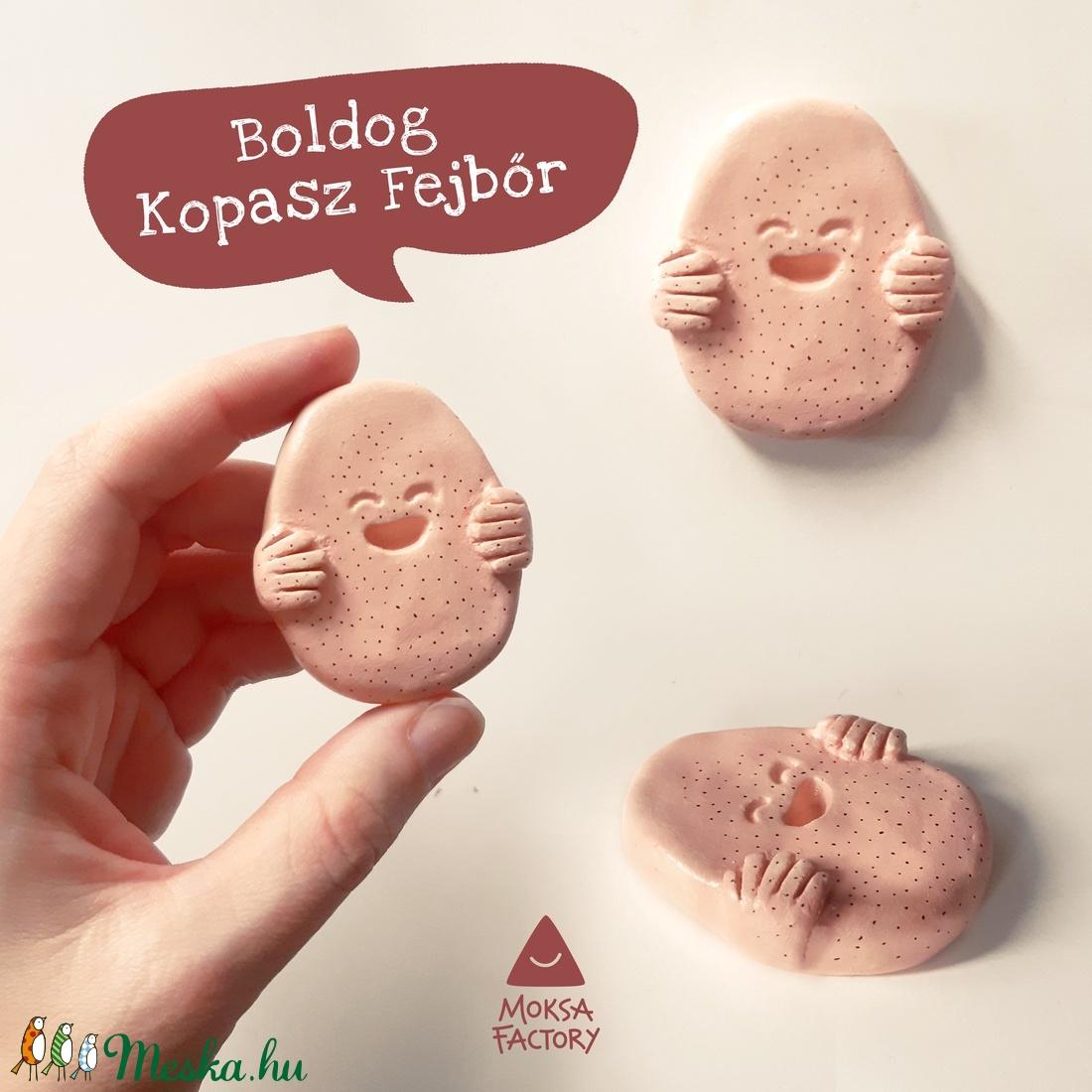 Boldog Kopasz Fejbőr - kerámia vicces ajándék férfinak / hajhullás, kopaszság, szeretet, kabala, dísz, humoros, egyedi - Meska.hu