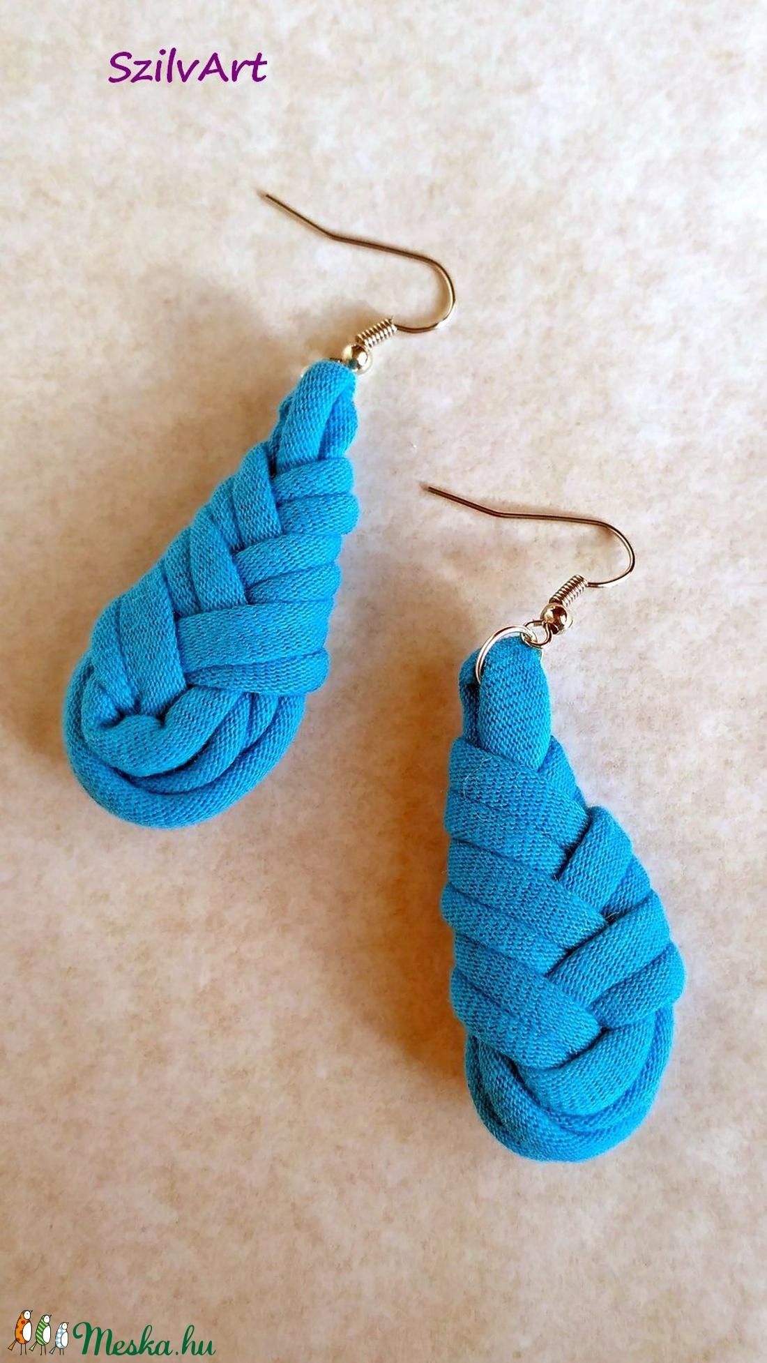 Csepp alakú textil fülbevaló - türkiz kék (artsisters) - Meska.hu