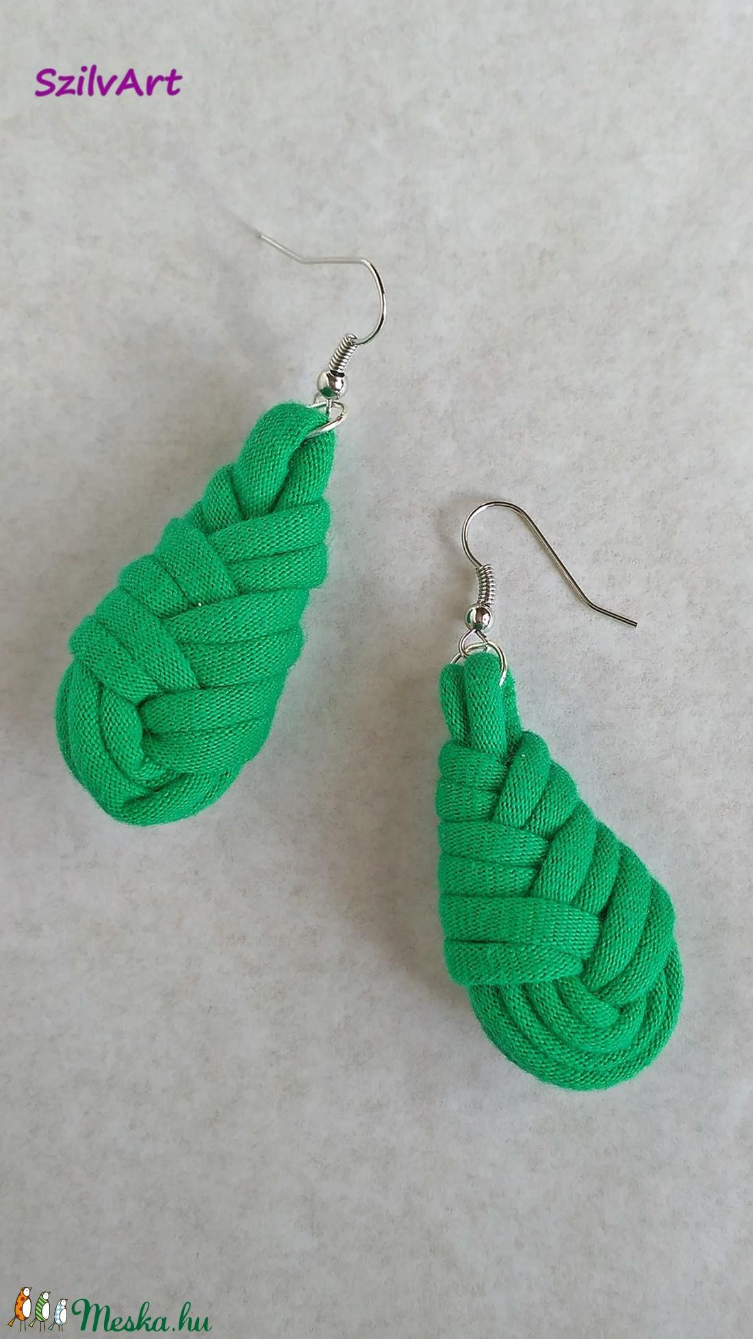 Csepp alakú textil fülbevaló - zöld (artsisters) - Meska.hu