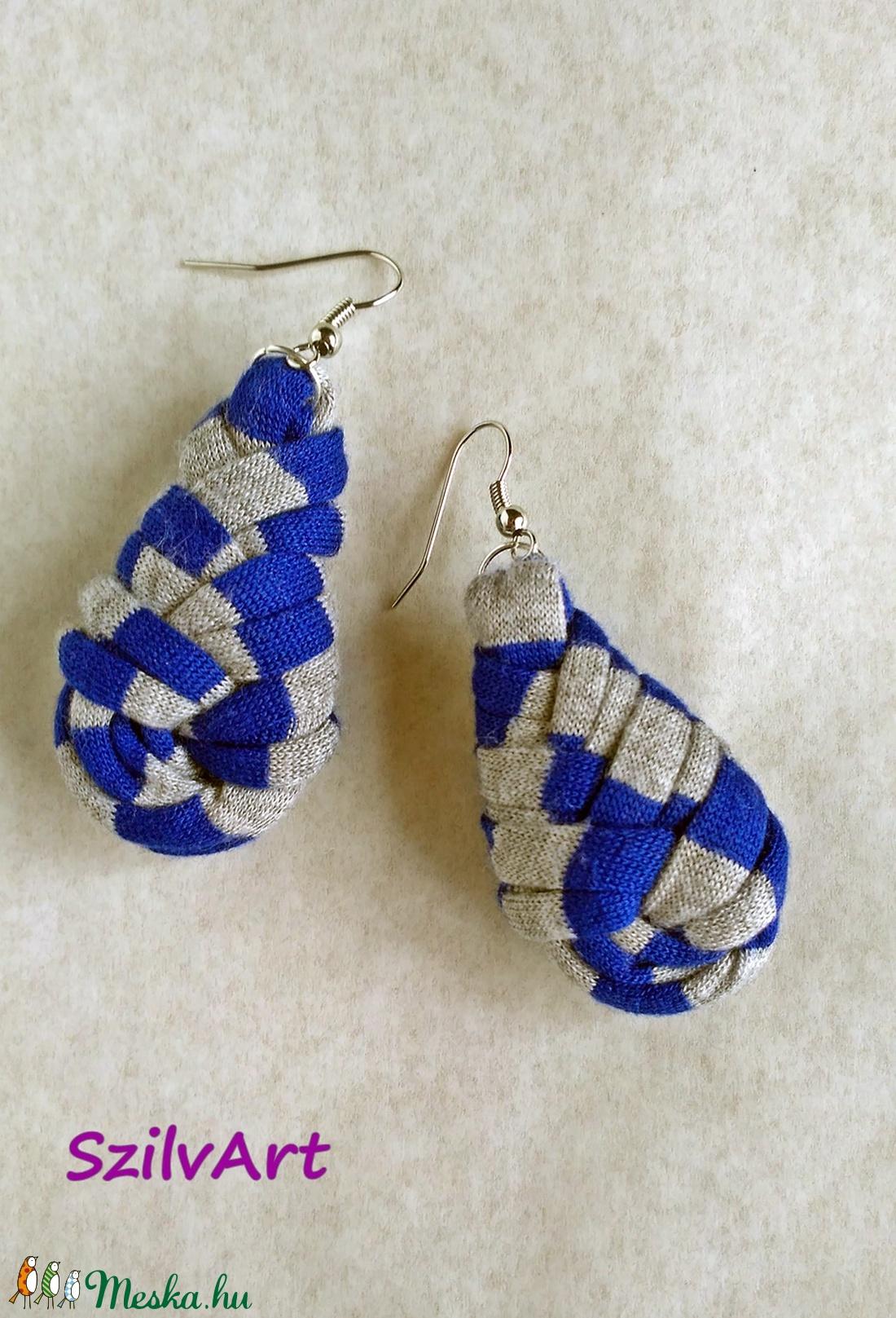 Csepp alakú textil fülbevaló - kék-szürke csíkos (artsisters) - Meska.hu