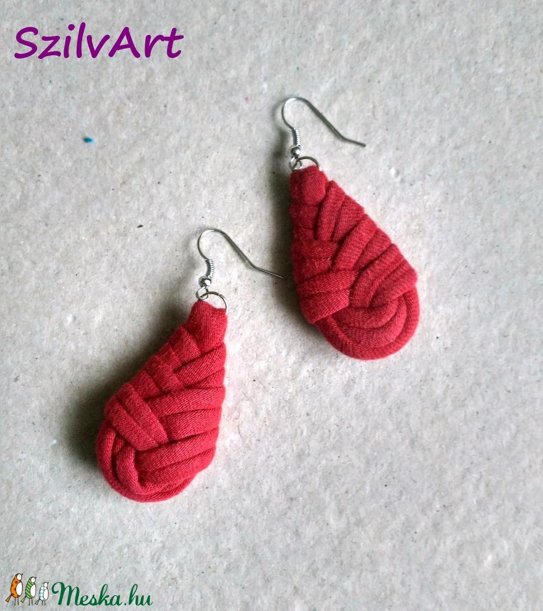 Csepp alakú textil fülbevaló - bordó (artsisters) - Meska.hu