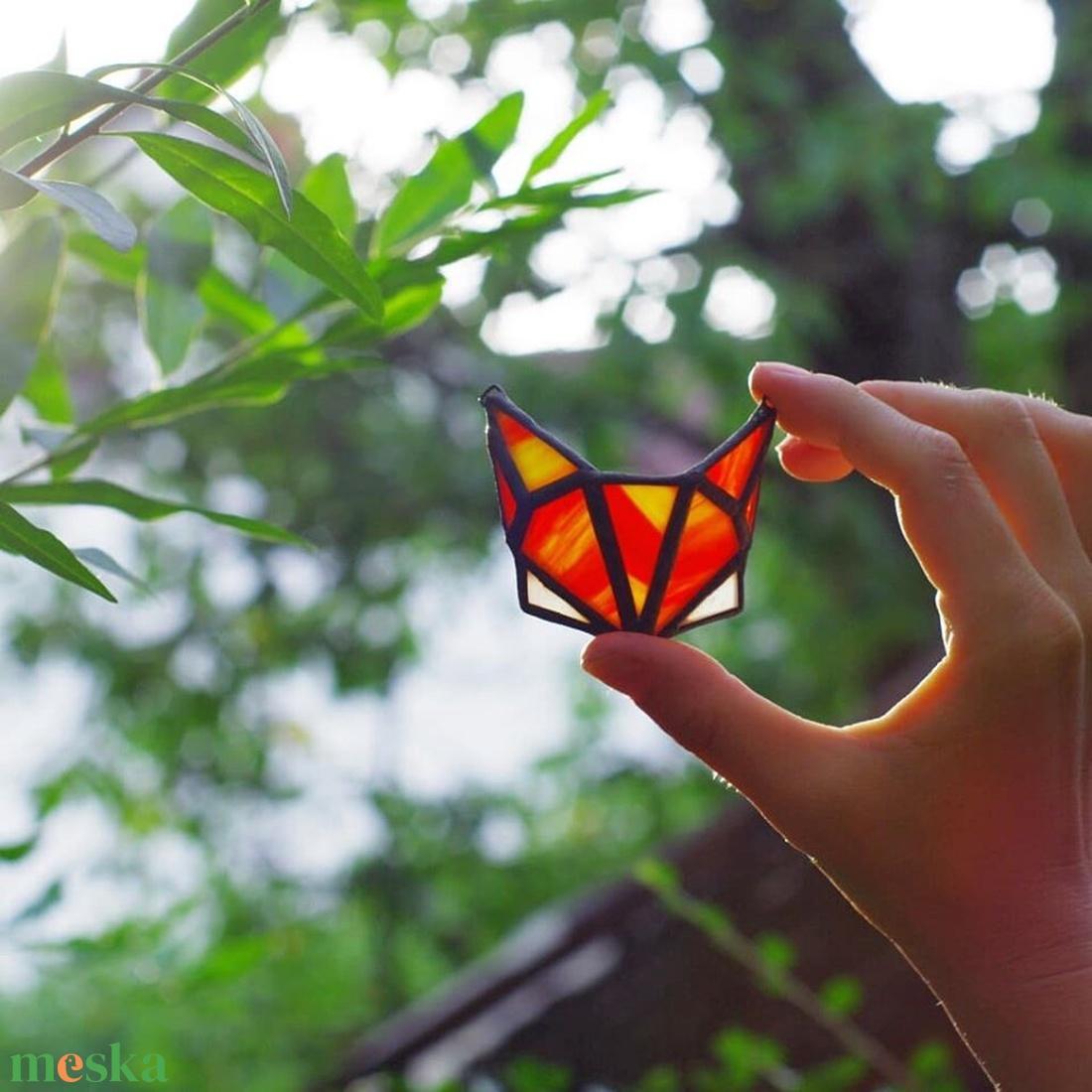 Tiffany 3D Róka Különleges Üveg Nyaklánc,  színes, erdei állat, fenntartható divat, újrahasznosított üvegből - ékszer - nyaklánc - medálos nyaklánc - Meska.hu