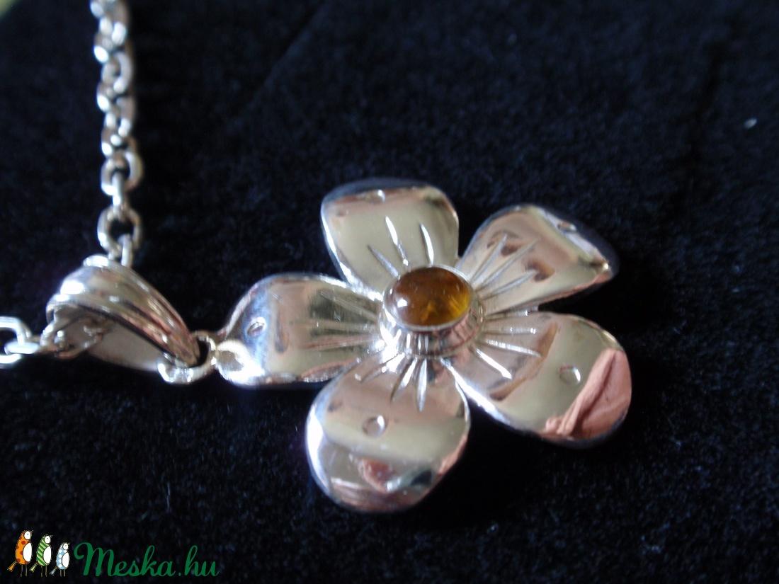Borostyános ezüst virág - ékszer - nyaklánc - medál - Meska.hu