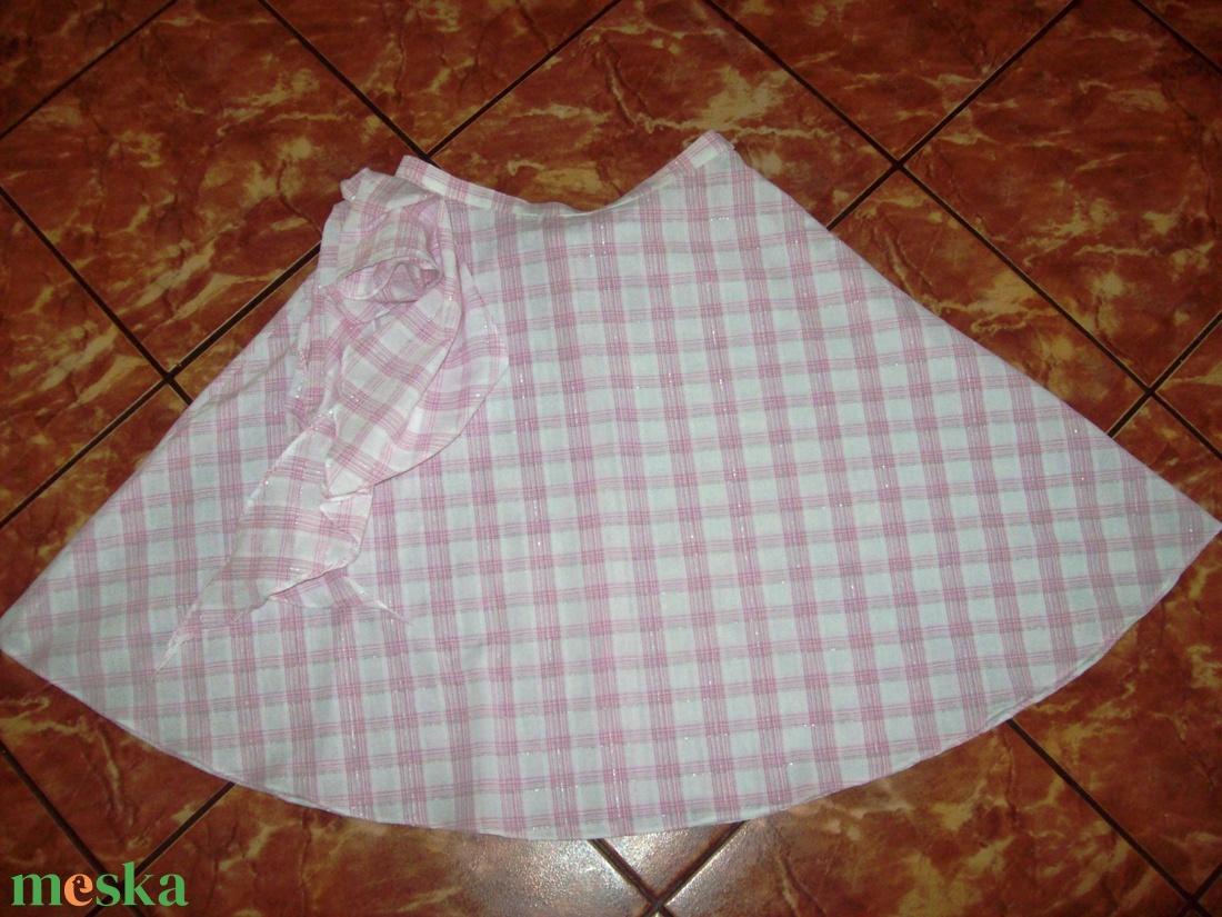 Rózsaszín-fehér kockás, loknis nyári szoknya - ruha & divat - női ruha - szoknya - Meska.hu