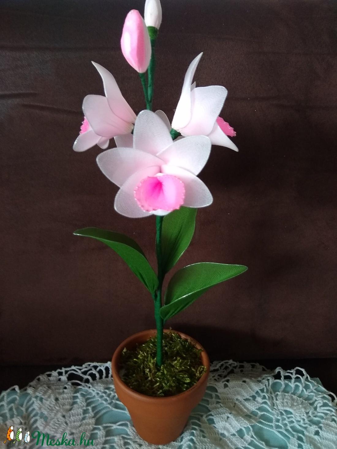 Rózsaszin harisnya orchidea - otthon & lakás - dekoráció - csokor & virágdísz - Meska.hu