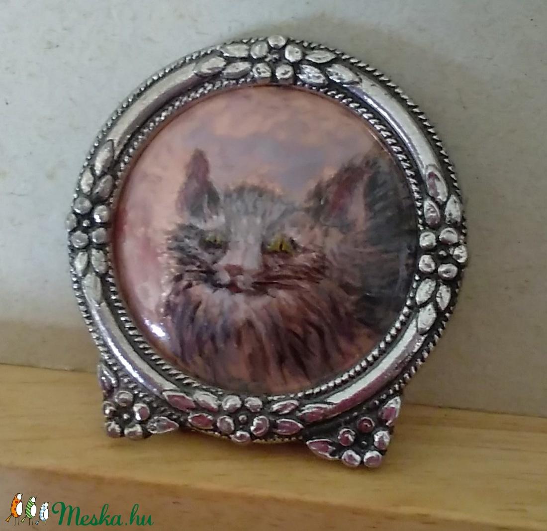 Festő zománc technikával készült cicás miniatűr - otthon & lakás - dekoráció - kép & falikép - Meska.hu
