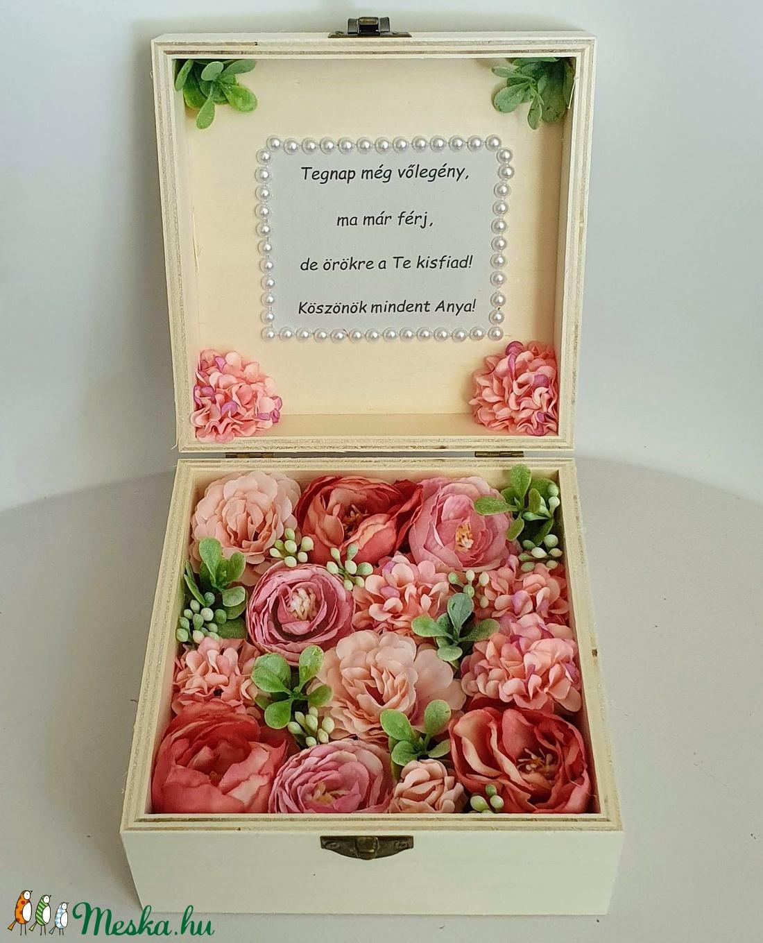 Szülőköszöntő virágos doboz - esküvő - emlék & ajándék - szülőköszöntő ajándék - Meska.hu