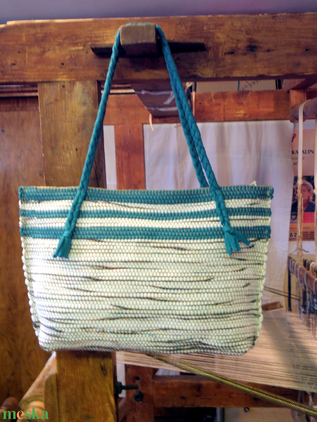 Zöld színnel díszített, melírozott táska. (balintkatalin) - Meska.hu
