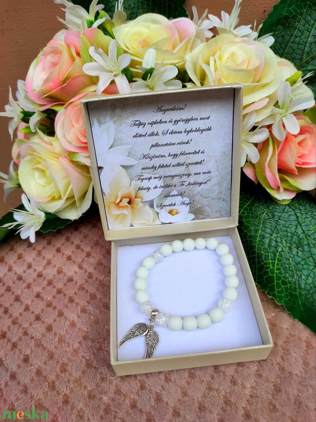 Angyalszárnyas fehér esküvői szülőköszöntő ajándék - esküvő - emlék & ajándék - szülőköszöntő ajándék - Meska.hu