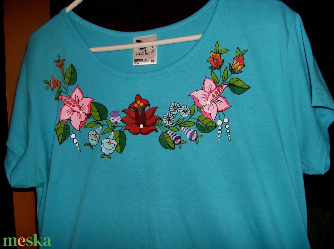 Kézzel festett pamut póló  - ruha & divat - női ruha - póló, felső - Meska.hu
